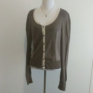Simply Vera Cardigan olive green sweater Large